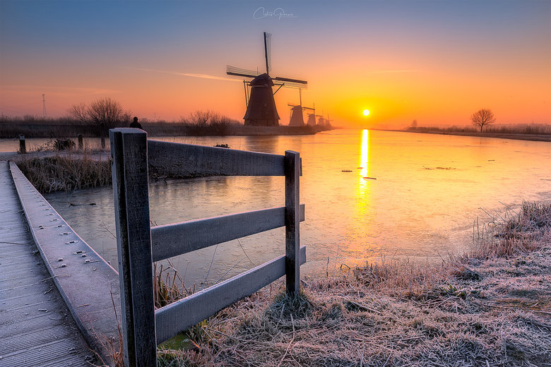 A cold morning in Kinderdijk -