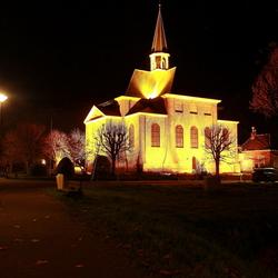 De oudshoornse kerk bij nacht