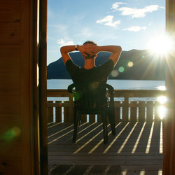 Ondergaande zon in Sogndal