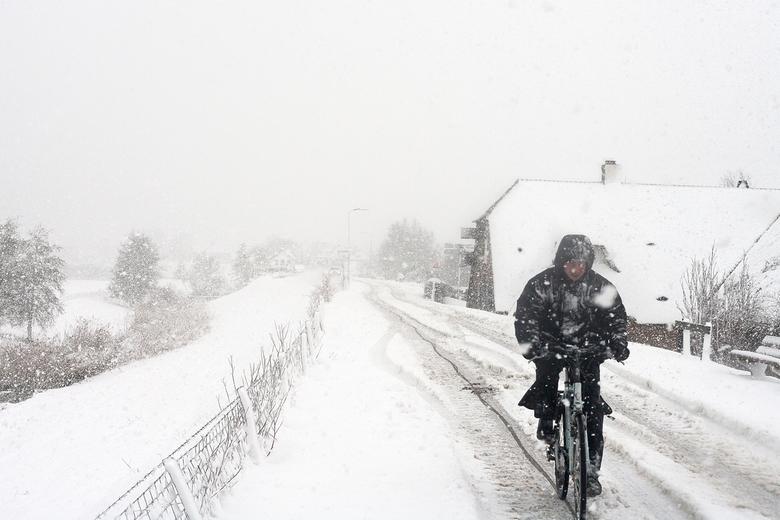 Tegen de sneeuwwind in - Een fietser vecht zich een weg door de sneeuwbui, op een dijkje in Welsseind.