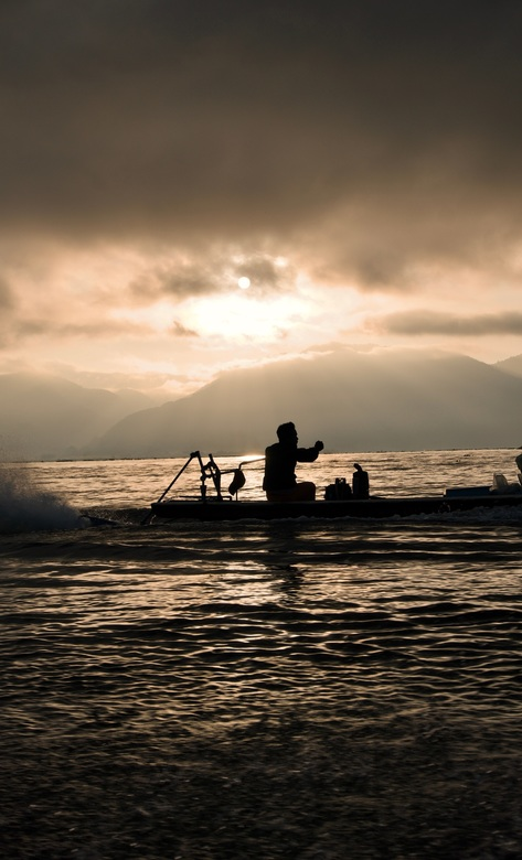 Inle lake Myanmar - Een lokale 'schipper' tijdens een rondvaart in de vroege ochtend in Inle lake, Myanmar