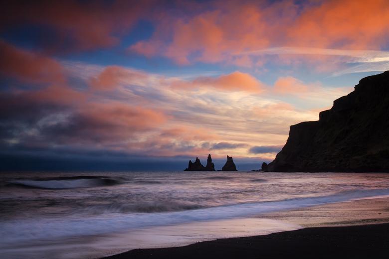 Zonsondergang Vik IJsland