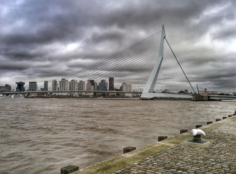 Erasmusbrug Rotterdam - De Erasmusbrug in Rotterdam. Ongenaakbaar in de wind en wolken.