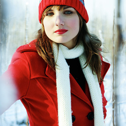 woman in red snow