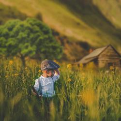 Little farmer boy