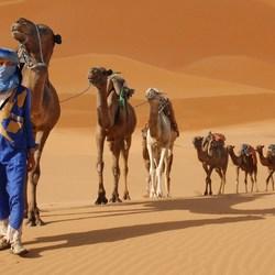blauwe man in de woestijn