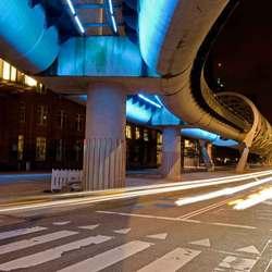 Netkousviaduct randstadrail in Beatrixkwartier te Den Haag
