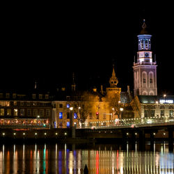 Kampen bij nacht, stadsbrug en Nieuwe Toren