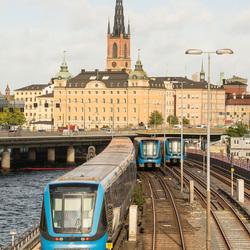 Stockholm - Sodermalmstorg met metrospoor en Riddarholmskyrkan
