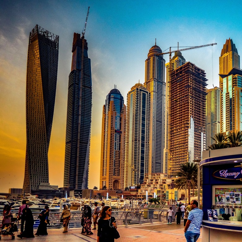 Dubai marina during sunset time
