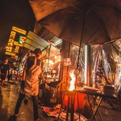 Straatkok in Bangkok. Mr. Noodles