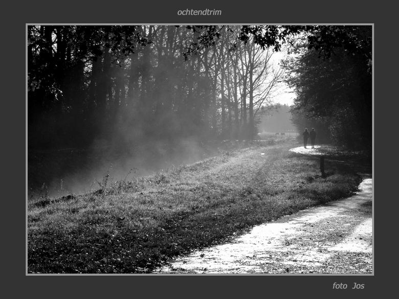 Ochtendtrim - Zondagmorgen 8 november 2009, de mist trekt op en de sporen van de nachtvorst zijn duidelijk zichtbaar. De eerste trimmers maken hun ron