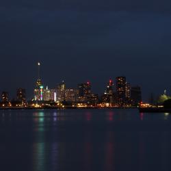 het uitzicht op Rotterdam vanaf Heijplaat
