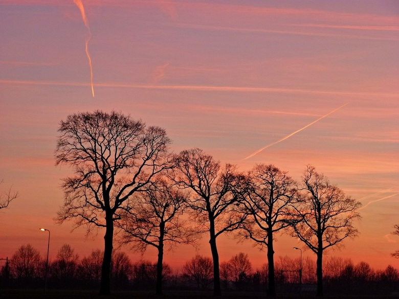 Sunset - Deze ondergaande zon heb ik vanuit 't wouwse beekdal gefotografeerd.