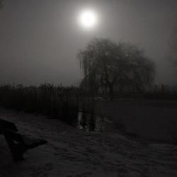 een zeer koude mistige avond
