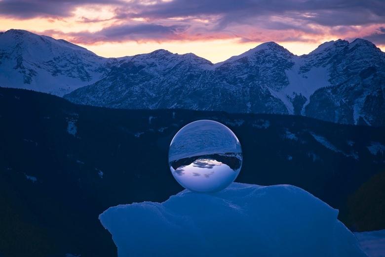 Lens Ball - This is my first Lens Ball shots. I did it this winter on the Dolomites. It is a photo stacking to make foreground ad background in full f