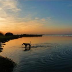Joep tijdens de zonsondergang......