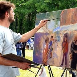 Deze schilder heeft een schilderij gemaakr van wat hij op dat moment zag