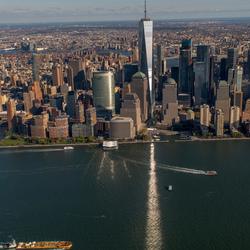 Freedom tower (WTC) reflectie, New York City