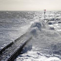 Loodsensteiger in Vlissingen in zwaar weer