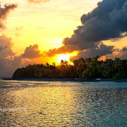 Zonsondergang op Meeru Island