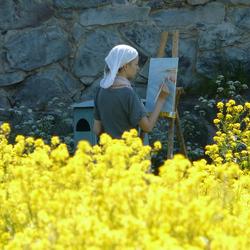 schilderen tussen de bloemen