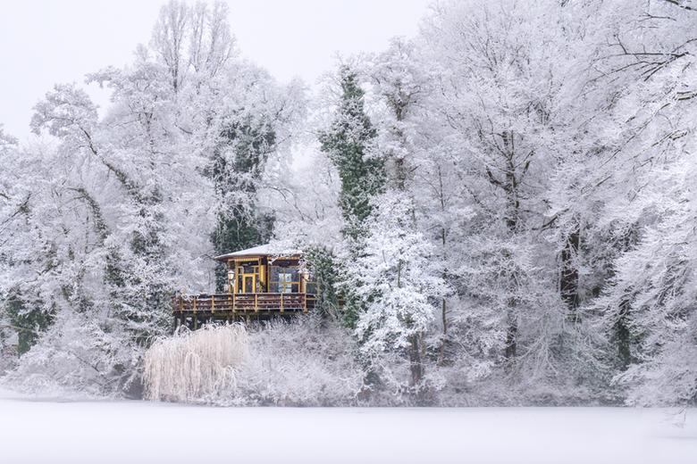 Vogeleiland Deventer tijdens sneeuw