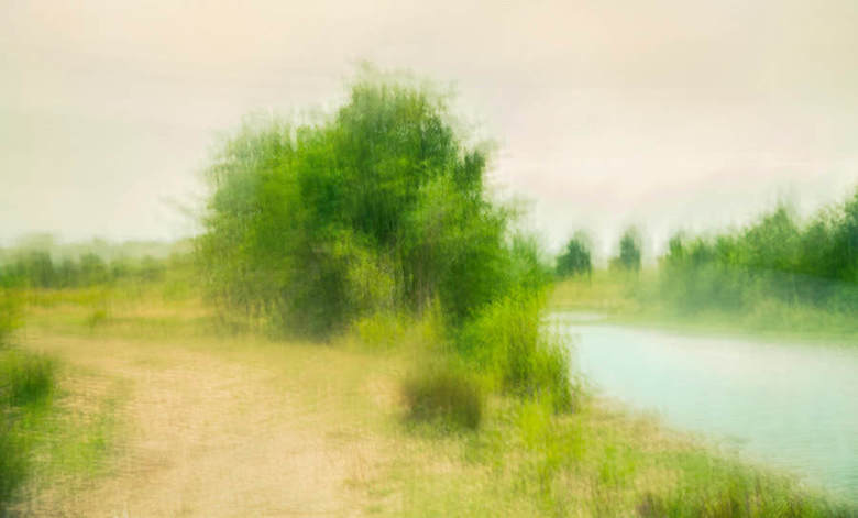 riverbank steafull  - impressionistische, intentional camera movement, plaat, in het kader van <br />