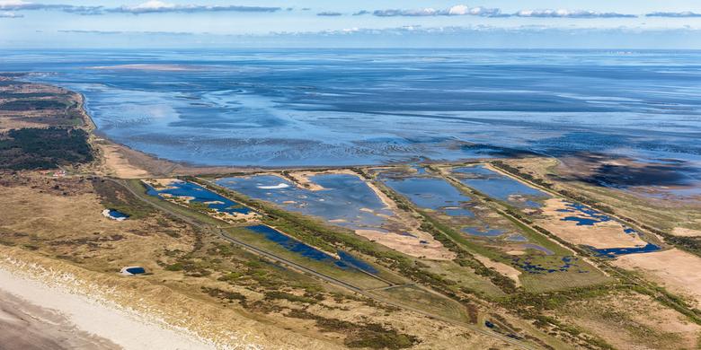 Kroon's Polders en 65km Waddenzee - Natuurgebied de Kroon's Polders op Vlieland, met uitzicht over de Waddenzee. Rechtsboven op de horizon, de va