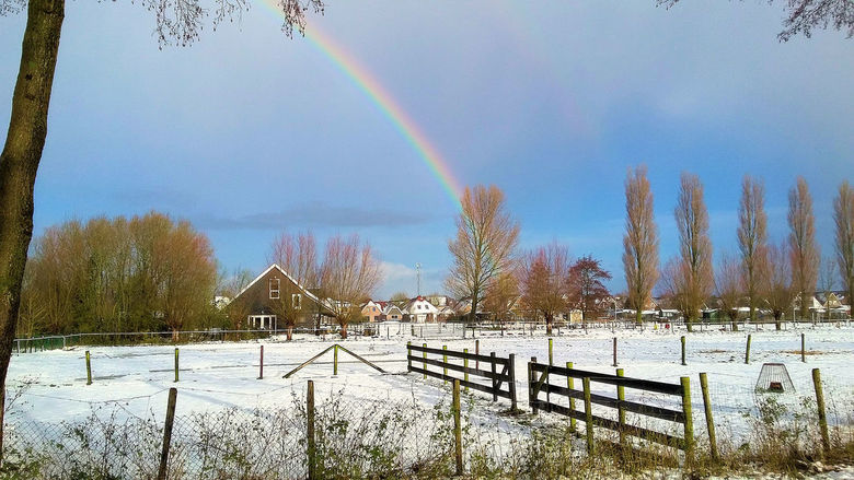 Sneeuwlandschap met regenboog