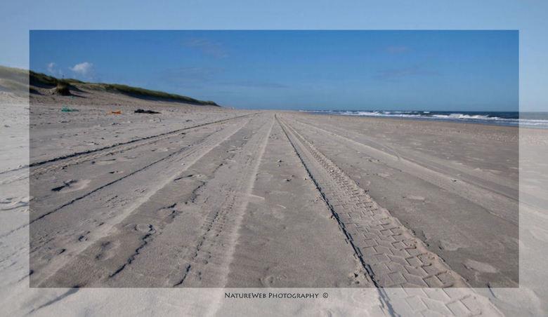 Over het strand ... - Auto's van Rijkswaterstaat rijden dagelijks over het Texelse strand, zo ook politie en soms een particulier met een terrein