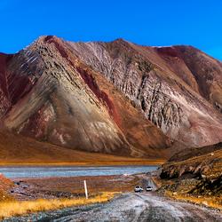 Landschap in Tadzjikistan nabij de grens met Kyrgyzstan._Q001543