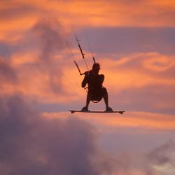 Kitesurfer in actie