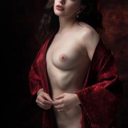 in scarlet cloak
