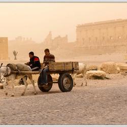 Syrie Palmyra tijdens een zandstorm