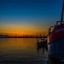 De haven van Den Oever bij zonsondergang