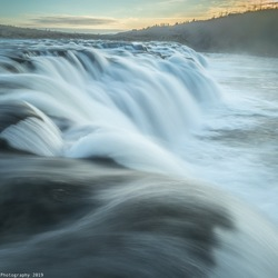 Faxifoss at early dusk
