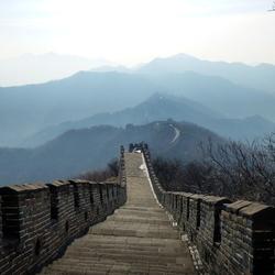 Chinese muur in het ochtendgloren