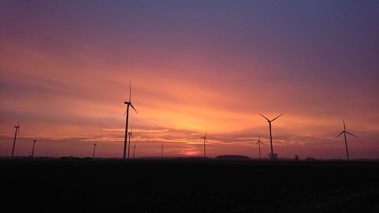 Zonsopkomst in Hoeven - Tijdens de golden hour een prachtige zonsopkomst boven de Hoevense Beemden met uitzicht op de windmolens