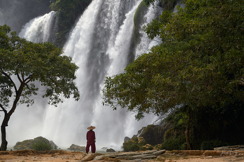 Man looking at the Ban Gioc–Detian Falls, Vietnam. - Man looking at the Ban Gioc–Detian Falls, Vietnam.