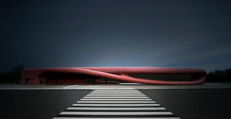 _K0B2818 nr7 Zoom Architectuur Bushalte Hoofddorp bij ziekenhuis - Deze foto ik s morgens vroeg genomen. Het is de bushalte bij het Spaanse ziekenhuis