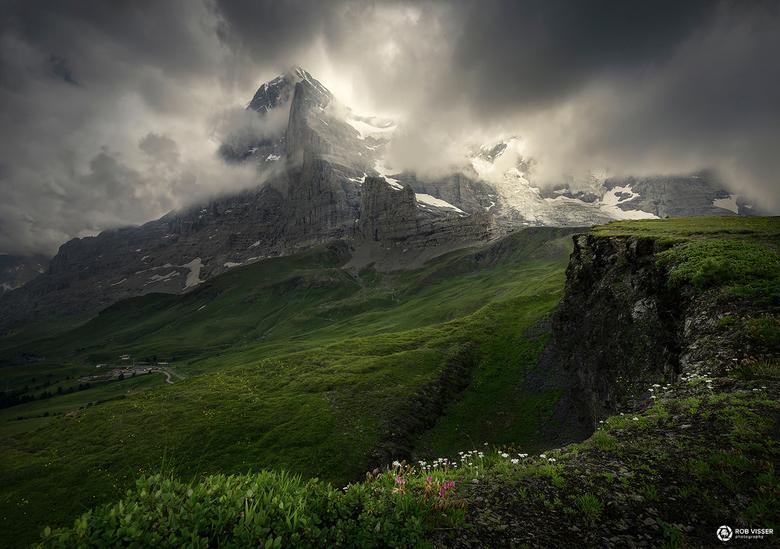 Face of the Eiger - De Eiger nordwand, genomen in de buurt van de Kleine Scheidegg.