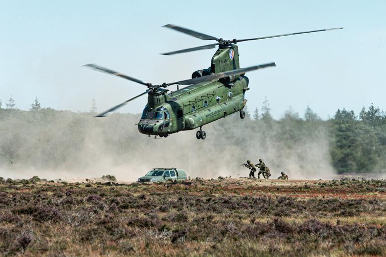 298 Squadron samen met 11 Luchtmobiele Brigade - De Chinook's van 298 Squadron trainen samen met 11 Luchtmobiele Brigade op de Ginkelse heide.