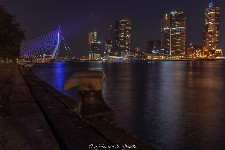 Bright city lights of Rotterdam