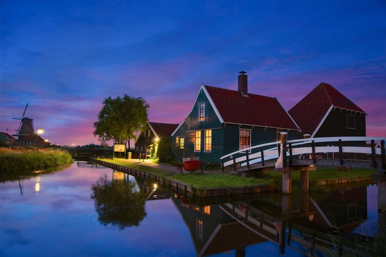 Blue night Zaanse Schans! - The night was a bit windy and I shot till night and well after blue hours. This is the classy icon  of Zaanse Schans, one