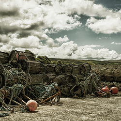 Lobster traps on the quayside