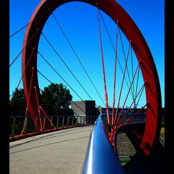 Fietsbrug over de snelweg bij Drachten