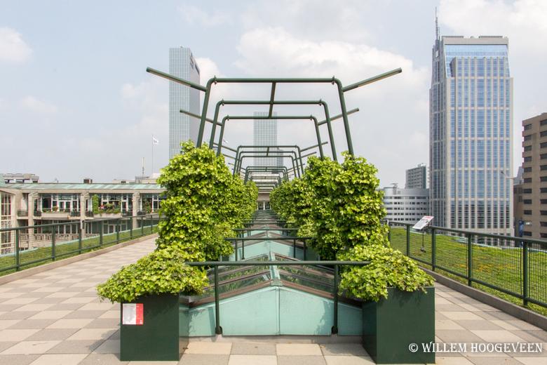 Rotterdam vanaf het dak - Op het dak van het groothandels gebouw. Dit zie je als je de trap in Rotterdam heb beklommen. Helaas was het niet helemaal h