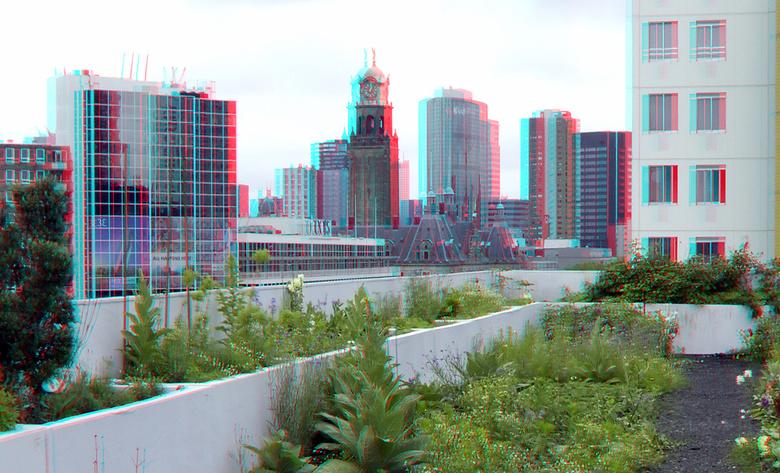 dak Schieblock Rotterdam 3D - dakakker Schieblock Rotterdam 3D<br /> anaglyph stereo red/cyan