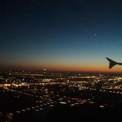 Flying at sundown
